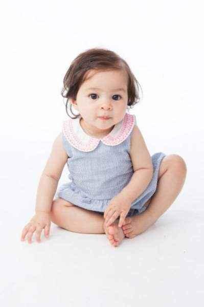 Seersucker Sleeveless Baby Girl Romper