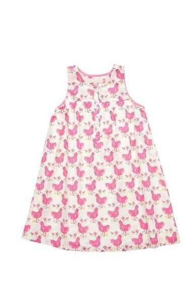Pink Chicken Sleeveless Girls Dress
