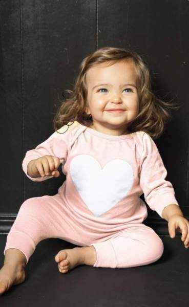 Heart Long Sleeve Baby Girl Jumpsuit & One Piece Pajamas (American Made)