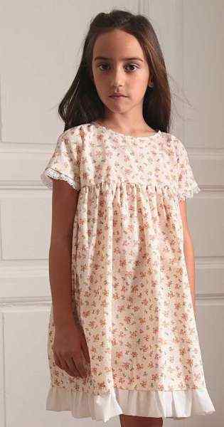 Floral Short Sleeve Margaret Little Girls Dress (American Made)