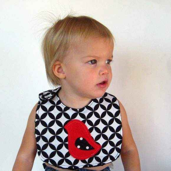 Appliqued Modern Bird Soft Minky Boutique Baby Bib (American Made)