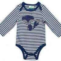 Navy Stripe Fox Bodysuit - in Certified Organic Cotton