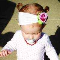 Antique Rose Baby & Girls Flower Headband (American Made)