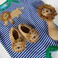 Lion Boutique Cute Baby Boy Animal Gift Set with Jumpsuit, Baby Booties, and Lion Rattle - ONLY ONE LEFT!