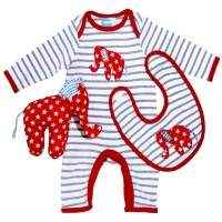 Red Elephant Adorable Baby Boy Boutique Outfit Set with Jumpsuit, Bib, and Elephant Toy - ONLY ONE LEFT: size 0-3 months!