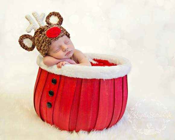Reindeer Christmas Holiday Baby Hat (American Made)