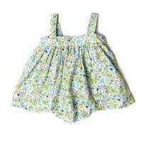 Green Floral Silk Cotton Bubble Dress - ONLY ONE LEFT!