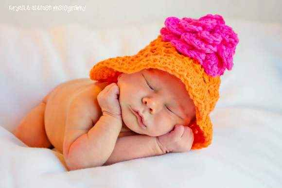 Orange Joy Baby Girl Flower Hat