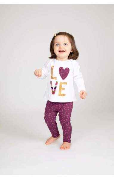 Greta Long Sleeve Tee & Leggings Baby Girl Two Piece Outfit Set