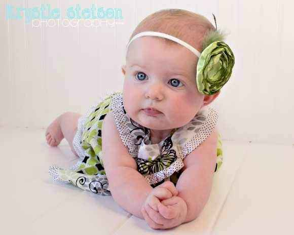 Cordelia Green Baby and Girls Flower Headband (American Made)