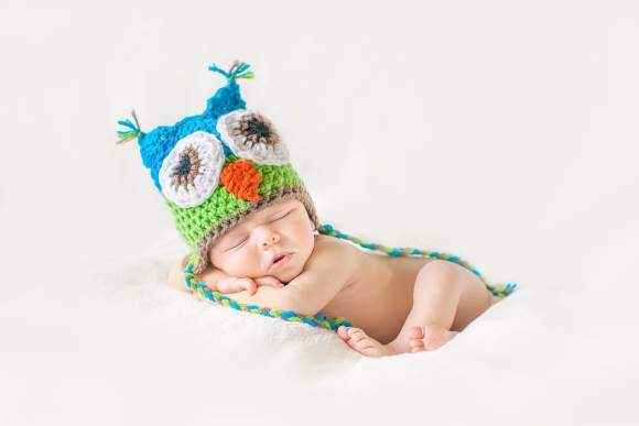 Turquoise Owl Baby Hat