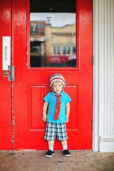 Red Sock Monkey Print Baby & Little Boys Velcro Necktie (American Made)