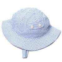 Blue Checked Baby Boy Sun Hat