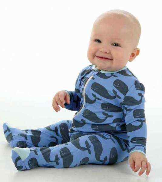 Big Whale Blue Long Sleeve Modern Baby Boy Boutique Footie Romper and Pajamas (Organic Bamboo)
