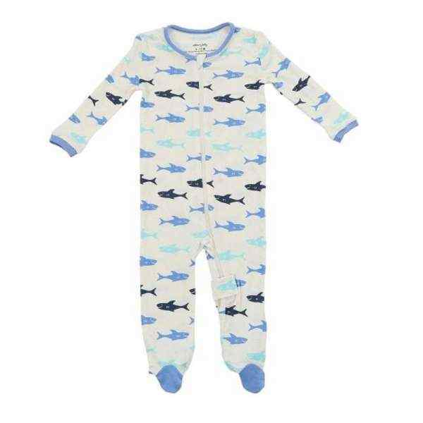 Shark Print Long Sleeve Baby Boy Footie Romper & Pajamas (Organic Bamboo)