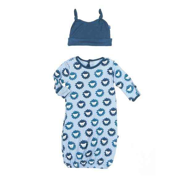 Lion Print Blue Baby Boy Gown and Hat Outfit Set (Organic Bamboo)