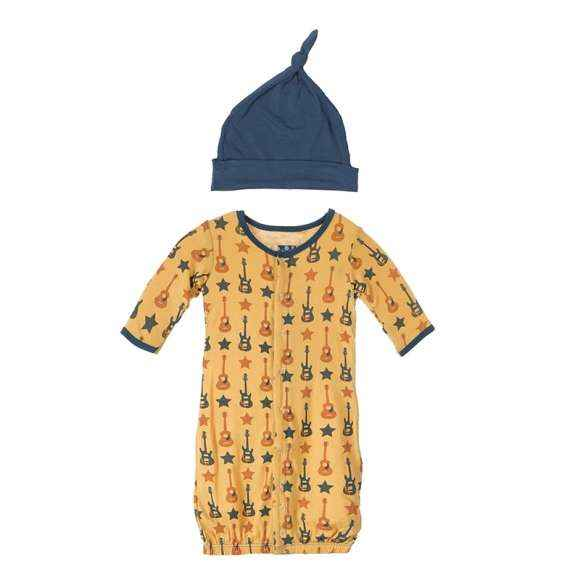 Rockstar Long Sleeve Baby Convertible Gown Romper and Hat Outfit Set (Organic Bamboo)