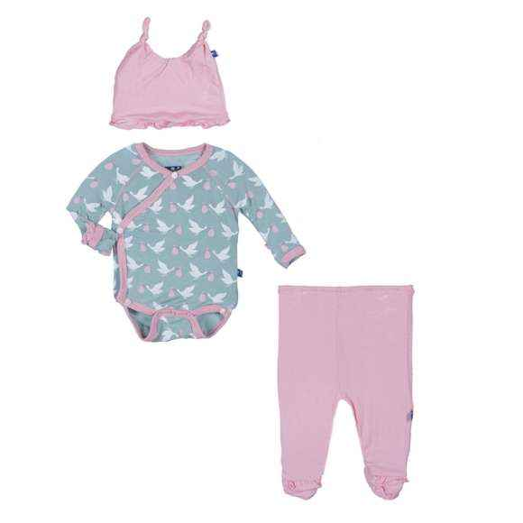 Stork Print Baby Girl 3 Piece Outfit Gift Set with Long Sleeve Bodysuit, Footed Pants and Hat (Organic Bamboo)