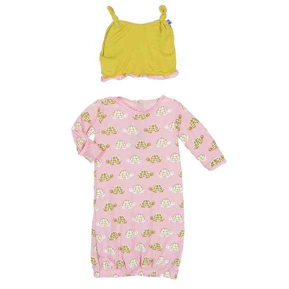 Turtle Print Baby Girl Gown and Hat Outfit Set (Organic Bamboo)