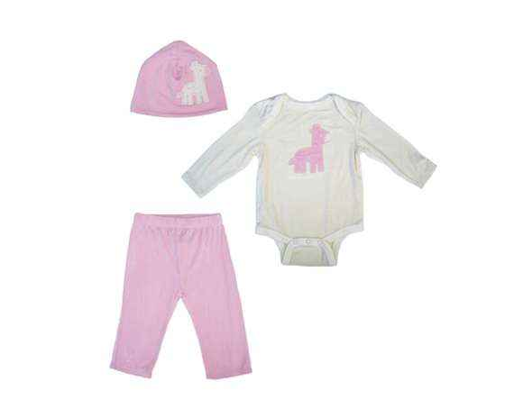 Pink Giraffe Modern Baby Girl 3 Piece Boutique Clothing Outfit Gift Set with Long Sleeve Bodysuit, Pants and Hat (Organic Bamboo)