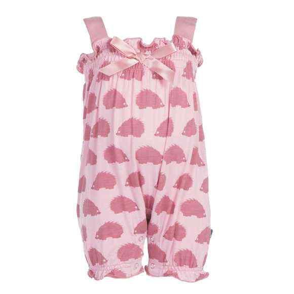 Porcupine Print Pink Sleeveless Baby Girl Romper (Organic Bamboo)