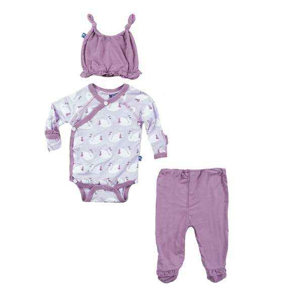 Swan Princess Baby Girl 3 Piece Outfit Gift Set with Long Sleeve Bodysuit, Footed Pants and Hat (Organic Bamboo)