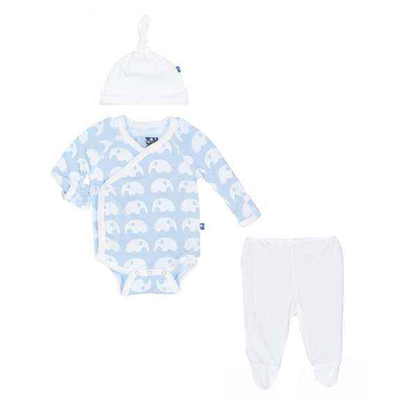 Blue Elephant Print Baby Boy 3 Piece Outfit Gift Set with Long Sleeve Bodysuit, Footed Pants and Hat (Organic Bamboo)