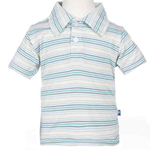 Desert Stripe Short Sleeve Modern Unique Boys Polo Shirt (Organic Bamboo)