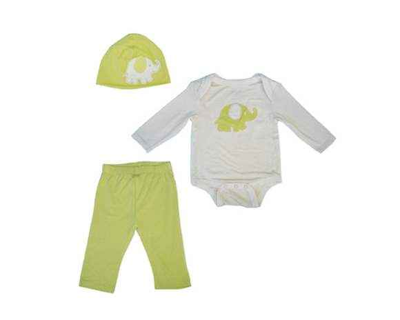 Elephant Baby 3 Piece Outfit Gift Set with Long Sleeve Bodysuit, Pants and Hat (Organic Bamboo)