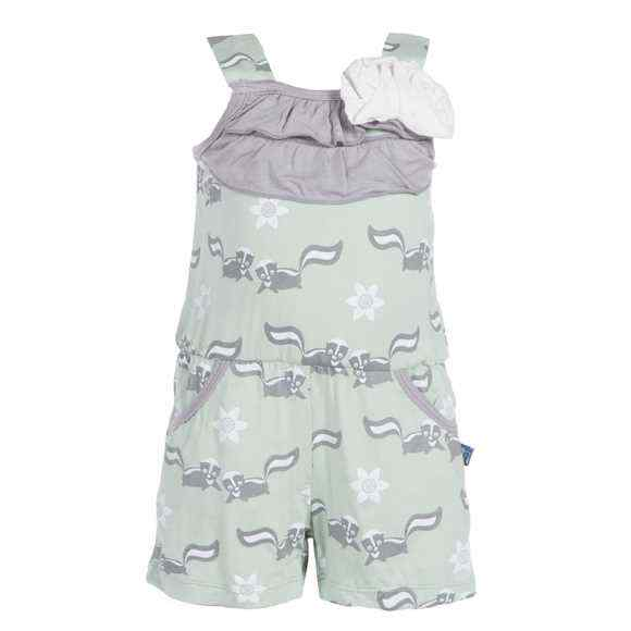 Aloe Girls Sleeveless Romper with Skunk Print (Organic Bamboo)