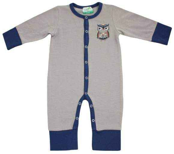 Gray Owl Long Sleeve Baby Boy Jumpsuit and Pajamas (Organic Cotton and Bamboo)