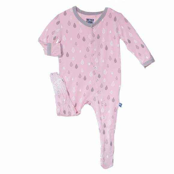 Raindrop Print Pink Long Sleeve Baby Girl Footie Romper and One Piece Pajamas (Organic Bamboo)