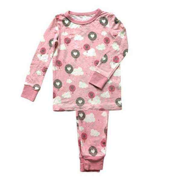 Hot Air Balloon Print Pink Baby and Toddler Girls 2 Piece Pajama Set (Organic Bamboo)