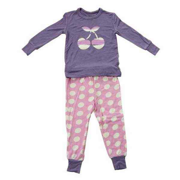 Cherry Dot Baby and Toddler Girls 2 Piece Pajama Set (Organic Bamboo)