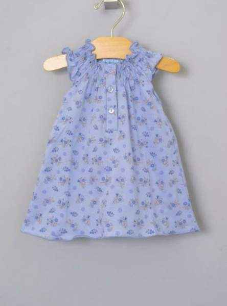 Periwinkle Bouquet Angel Sleeve Baby Girl Dress (Organic Pima Cotton)