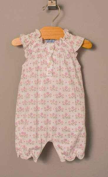 Pink Zinnia Angel Sleeve Baby Girl Romper and Headband Outfit Set (Organic Pima Cotton)