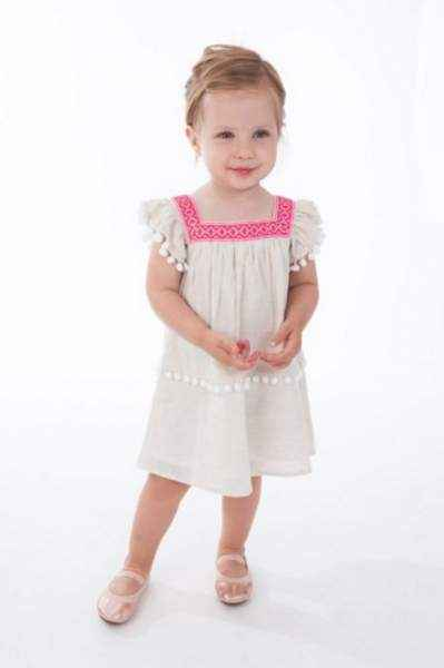 Pom Pom Flutter Sleeve Baby and Girls Dress
