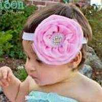 Edie Pink Girls Flower Headband (American Made)