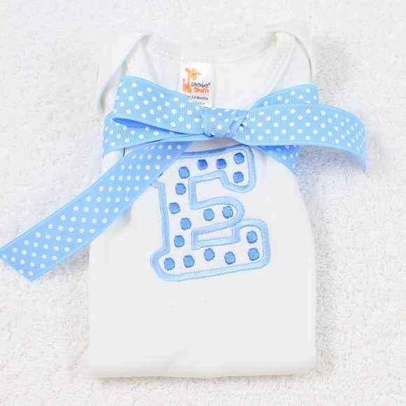 Monogrammed Blue Initial Short Sleeve Baby Boy Bodysuit