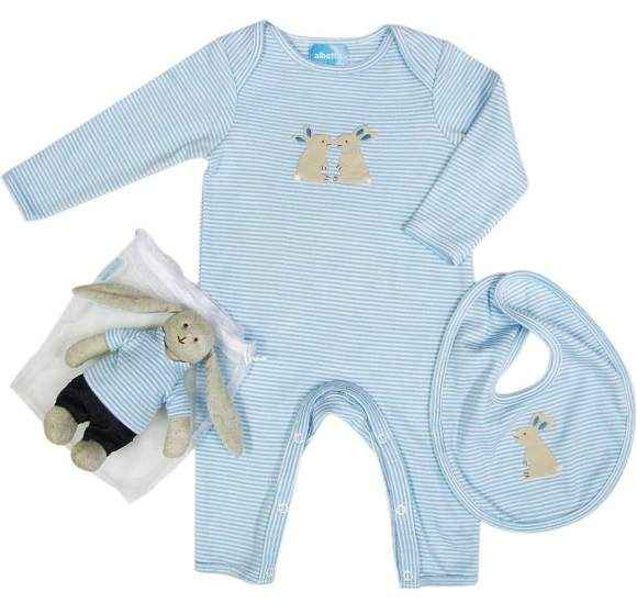 Blue Bunny Long Sleeve Newborn Baby Boy Jumpsuit, Bib and Toy Gift Set