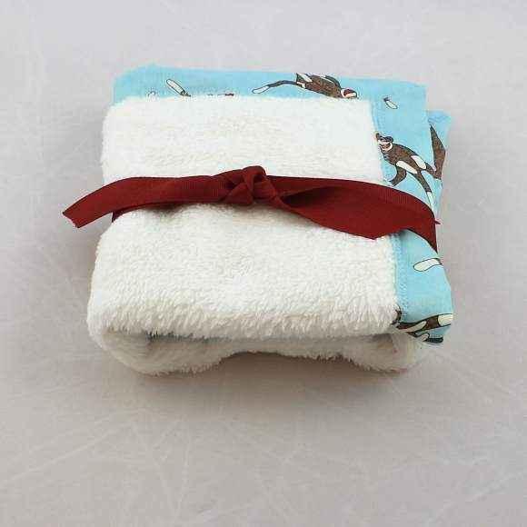 Blue Sock Monkey Cuddle Lovey Baby Boy Security Blanket (American Made)