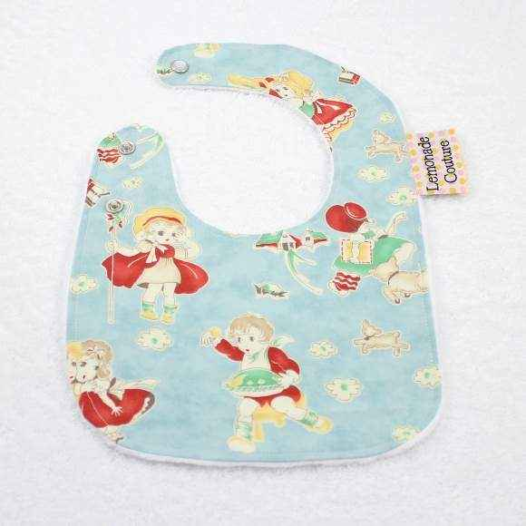 Aqua Nursery Rhyme Vintage Style Print Minky Baby Bib (American Made)