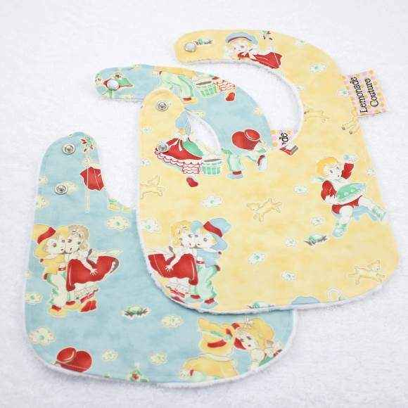 Nursery Rhyme Print Minky Baby Bib Gift Set (American Made)