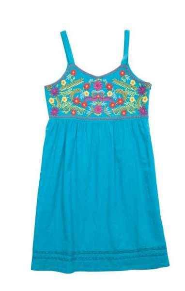 Sunny Blue Spaghetti Strap Big Girls Dress