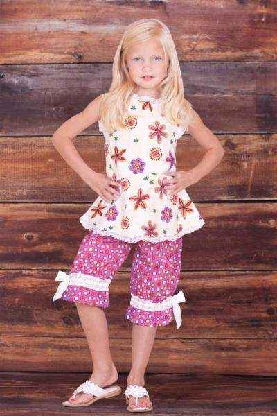 Verbena Print Baby & Girls Sleeveless Blouse & Pants Two Piece Outfit Clothing Set