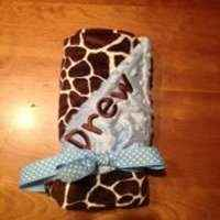 Light Blue Giraffe Minky Baby Boy Blanket (American Made) (Available Personalized)