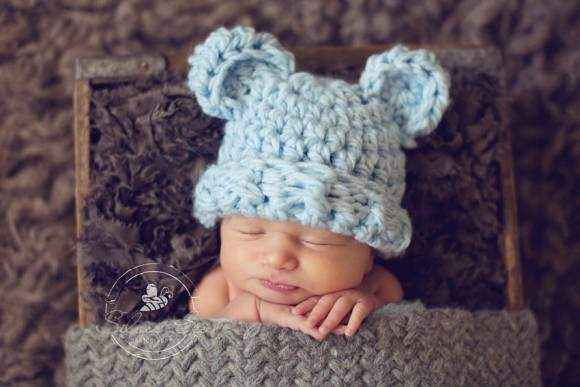 Fuzzy Wuzzy Bear Baby and Toddler Boy Hat in Blue (American Made)