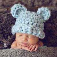 Fuzzy Wuzzy Bear Baby & Toddler Boy Hat in Blue (American Made)