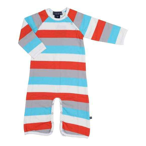 Cool Aqua Striped Baby Long Sleeve Jumpsuit and Pajamas