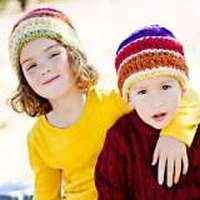 Striped Crocheted Modern Children's Sibling Hats